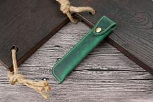 Держатель для ручек из натуральной кожи, сумочка для ручек и карандашей чехол с кнопками для шариковых ручек(Китай)