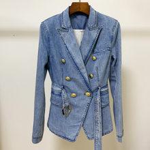 Классический осенний костюм, новинка, двубортный Джинсовый блейзер, куртка, топы для женщин, повседневный длинный рукав, с поясом, джинсовое...(Китай)