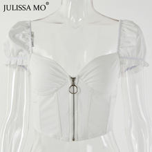 JULISSA MO сексуальный корсет с v-образным вырезом, укороченный Топ для женщин, модный топ на молнии с оборками, летний топ на бретелях, 2019, пляжна...(Китай)