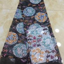 Многоцветные 5 ярдов мягкий ручной работы элегантный Африканский Французский кружевной ткани блестящая Свадьба Нигерия Гана праздничное п...(Китай)
