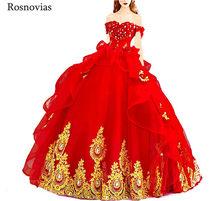 Красное бальное платье принцессы бальные платья 2020 с открытыми плечами на шнуровке сзади с золотой аппликацией длинные милые 16 платья для в...(China)