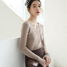 Осень 2020, зимняя одежда для женщин, harajuku, корейский стиль, женские свитера, модный винтажный тренд, пряжка, v-образный вырез, вязаный свитер дл...(Китай)