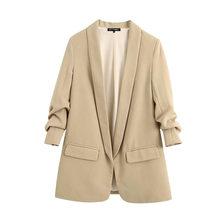 Женский винтажный Блейзер KPYTOMOA, базовая верхняя одежда с отвернутыми рукавами и карманами для офиса, 2020(Китай)