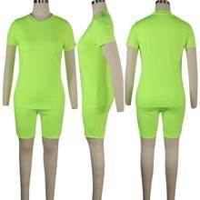 2020 повседневный летний женский комплект из двух предметов, укороченный топ с круглым вырезом + штаны для бега, Женский однотонный наряд(Китай)