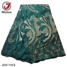 Milylace Милая африканская кружевная ткань высокого качества 5 ярдов вышитая кружевная тюль ткань со стразами для девочек платья JXW-119(Китай)