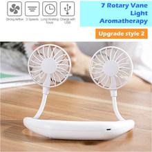 Мини-вентилятор без рук, портативный мини-вентилятор с разноцветными лампами, два вентилятора, висят вокруг шеи для спорта, 5 шт./лот(China)