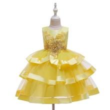 Свадебное платье для маленьких девочек с аппликацией в виде ангела, стразы, многослойное платье подружки невесты, плиссированное Сетчатое ...(Китай)