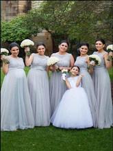 Горячая Распродажа, очаровательное платье подружки невесты без рукавов с серебряным вырезом лодочкой, длинное платье для беременных, сваде...(Китай)