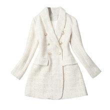 Женский твидовый пиджак, элегантный двубортный пиджак, теплое пальто, зима 2020(Китай)