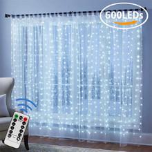 600 см x 300 см светодиодный Сказочный светильник для оконной занавески, украшения для спальни, дистанционное управление, Рождественский празд...(Китай)