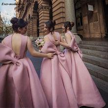 Милые платья подружки невесты длиной до щиколотки 2020, с открытой спиной и большим бантом, короткие, черные, розовые, свадебные, гость, вечерн...(China)
