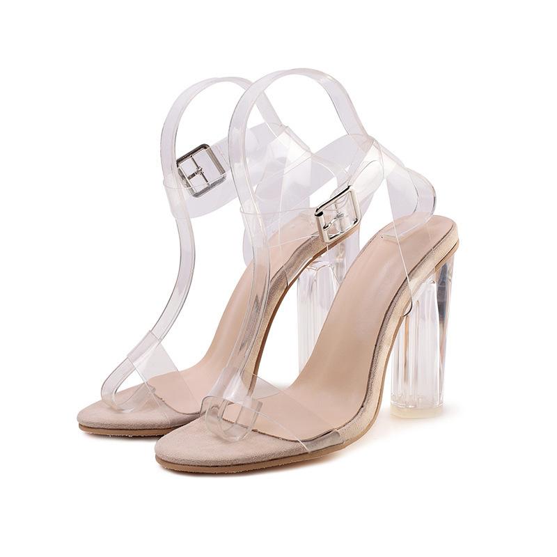 Летняя обувь большого размера 43; женские прозрачные босоножки на высоком каблуке; Босоножки с открытым носком и пряжкой; прозрачная обувь; ...(Китай)