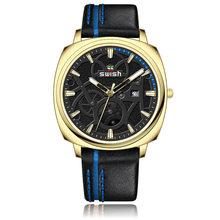 SWISH повседневные мужские наручные часы люксовый бренд кожаные спортивные кварцевые часы светящиеся военные часы водонепроницаемые Relojes ...(China)