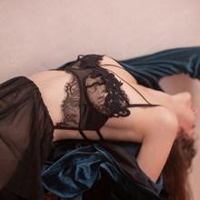 Ночная рубашка с открытой спиной, пикантная Пижама, водорастворимые цветы, открытое Ночное платье, кружевное ночное белье на тонких бретеля...(Китай)