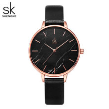 Shengke Изумрудный циферблат, женские часы, розовое золото, нержавеющая сталь, ремешок, часы с мраморной поверхностью, Reloj Mujer, новые оригинальны...(China)