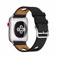 Для Apple Watch Band 5 4 3 2 1 Herm логотип из натуральной кожи iWatch браслет Ремешки для Apple Watch ремешок 44 мм 40 мм 42 мм 38 мм(Китай)