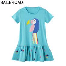 SAILEROAD/Детское платье для девочек 2-7 лет, Vestido летнее короткое платье для девочек Новая одежда для девочек с птицами и блестками, праздничные п...(Китай)