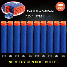 100 шт. NERF пистолет присоска пуля Дротика 7,2 см EVA пустотелые мягкие пули игрушечный пистолет снайперский пистолет аксессуары 6 пулевых голово...(Китай)