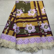 Новая мода Анкара воск Кружевная Ткань 6 ярдов Африканский нигерийский 100% хлопок воск печать ткань Гипюр кружево с воском ткань(Китай)
