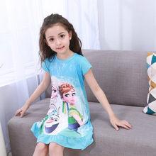 Детская одежда для дома, платье Анны и Эльзы, ночная рубашка для девочек, летняя ночная рубашка с мультяшным рисунком, детская одежда, пижама...(Китай)