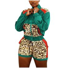 Женский спортивный костюм, Женская куртка с длинным рукавом и леопардовым принтом + шорты, комплект из 2 предметов, спортивный осенний клубн...(Китай)