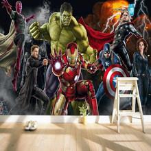 Пользовательские 3D Настенные обои Мстители 3D обои Халк Железный человек Капитан Америка настенная спальня для мальчиков(Китай)