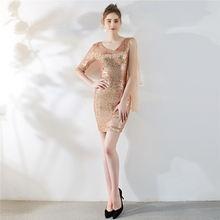 Платье для выпускного вечера DX284 It's Yiiya, расшитое блестками ТРАПЕЦИЕВИДНОЕ ПЛАТЬЕ С Открытой Спиной размера плюс, Vestidos De Gala, мини-Выпускные п...(Китай)