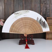 Новый китайский элегантный вентилятор из твердой древесины с рисовой бумагой простой, элегантный и неприхотливый бумажный складной Ручной...(Китай)