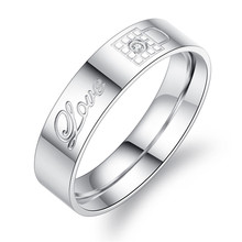 Новый серебряный ключ с замком, титановая сталь, парные кольца для мужчин и женщин, простые ювелирные кольца, обручальное кольцо для влюблен...(Китай)