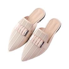Женские уличные шлепанцы с острым носком, повседневные пляжные шлепанцы на квадратном каблуке, 2020(Китай)