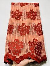 Новейшая африканская фатиновая кружевная ткань, вышитая стразами и камнями, 5 ярдов/шт, французские сетчатые шнурки, ткань для шитья(Китай)
