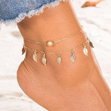 Женские многослойные сандалии EN Bohemian, модные сандалии с цепочкой на щиколотке и жемчугом(Китай)