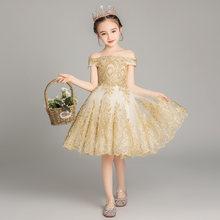 Платья для причастия It's Yiiya B021 2020 золотые кружевные платья для девочек с цветочной вышивкой цвета шампанского на свадьбу, фатиновое Пышное П...(Китай)