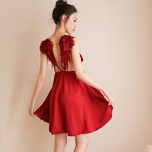 Новый комплект одежды для сна, Милая Сексуальная кружевная ночная рубашка с глубоким v-образным вырезом и длинным рукавом, женская ночная со...(Китай)