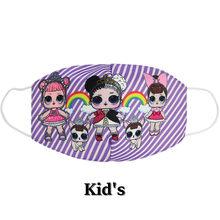 NADANBAO 2020 новая детская маска для лица с принтом хлопковая Пыленепроницаемая анти-Туманная детская маска розовая полоска LOL кукольные маски с...(Китай)