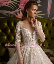2020 великолепное блестящее бальное платье Свадебные платья Vestido De Casamento аппликации из бисера с длинным рукавом свадебное платье для свадьбы(China)
