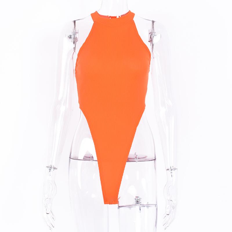 Сексуальный уличный облегающий неоновый боди, летний цветной Топ без рукавов с открытой спиной, Ftness наряд для клуба, для вечеринки, комбинез...(Китай)