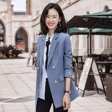 Винтажный двубортный офисный женский клетчатый блейзер с длинным рукавом, свободный Хаундстут, костюм, пальто, куртка, женские блейзеры 2020(Китай)