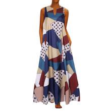 VICABO Sukienki женское платье Длинное Элегантное женское платье с принтом без рукавов Vestidos вечерние летние женские платья # w(Китай)