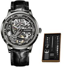 Роскошные мужские механические наручные часы, автоматические часы, мужские классические скелетоны, кожаный топовый бренд, прозрачный Сапф...(Китай)