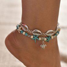 Многослойная цепочка на щиколотке, женские летние золотые браслеты на щиколотке, изящные украшения для ног для женщин и девушек-подростков,...(Китай)