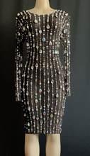 Новое дизайнерское Сетчатое платье со стразами и жемчужинами на день рождения, праздничное стрейчевое платье, просвечивающий наряд, певица...(Китай)