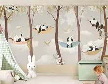 WELLYU Индивидуальные Современные Красивые шелковистые стерео обои панда фон papel де parede обои домашний декор papier peint3D(Китай)