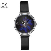 Shengke женские часы Топ бренд Роскошный Кожаный ремешок наручные часы для женщин синий перо часы Стильные кварцевые женские часы(China)