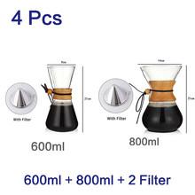 400 мл 600 мл 800 мл эспрессо Кофейная машина набор чайных водонагревателей 2 шт. фильтр из нержавеющей стали чайник из стойкого стекла кофеварка(Китай)