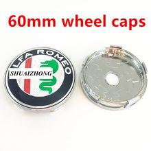 Центральная втулка колеса автомобиля Alfa Romeo, колпачки с логотипом крышки колесных дисков, пыленепроницаемые Чехлы, 4 шт., 50 мм, 56 мм, 60 мм(Китай)