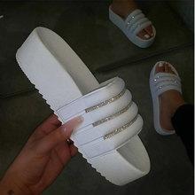 MCCKLE Женщина Нескользящие Тапочки Женские Открытые Носки Кристалл Платформа Плоские Туфли Woman Comfort Повседневная Мода Тапочки Женские 2020 New(Китай)