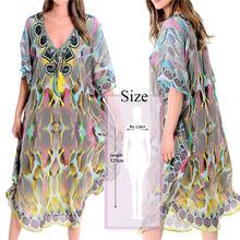 2020 быстросохнущее богемное свободное летнее пляжное платье на шнуровке с рукавом летучая мышь и кисточками марокканский кафтан туника жен...(Китай)