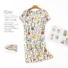 Женская пижама с короткими рукавами, милая летняя ночная рубашка с мультяшным рисунком в Корейском стиле(Китай)