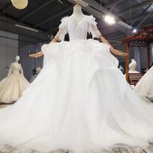 HTL1735 красивое свадебное платье с аппликацией 2020 размера плюс со шнуровкой на спине с высоким вырезом и полурукавами(China)